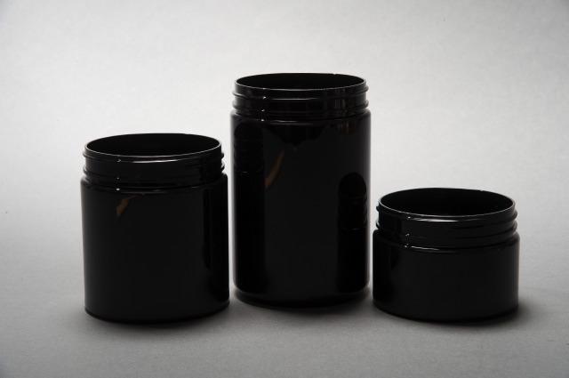 8oz / 250ml Black PET Wide Mouth Jar 70/400